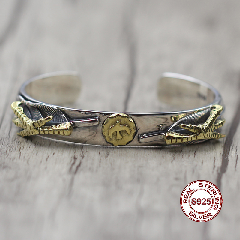 S925 angles Sterling Silver Men's Open Bracelet Indian style Personality trend Feather series brass birds Send a gift to love small birds of a feather notebook