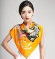 Desigual цветочный печать большие квадрат желтый womenautumn100 % чистого шелк шарф 90 * 90 см SK100