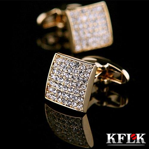 KFLK Luxury shirt cufflinks for mens gift Brand cuff button Crystal cuff link Gold High Quality gemelos abotoadura Jewelry