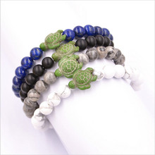 New Arrival Green Sea Turtle 8mm White Black Blue Stone Beads Braiding Bracelet For Women Bangles Jewelry