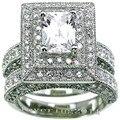 Victoria Wieck 2-em-1 de noivado banda 139 pcs topázio simulada diamante do Vintage 14KT branco Gold Filled anel de casamento Set Sz 5 - 11