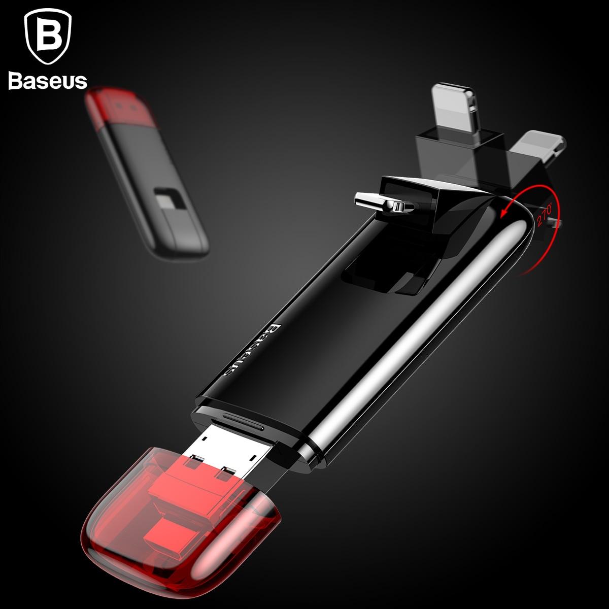 Baseus 3in1 unidades Flash USB para iPhone 5 5 5 6 6 7 8 U disco Teléfono de almacenamiento de memoria Stick 32G 64G Pendrive para Samsung Micro USB de disco U