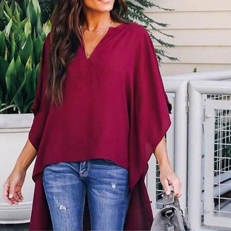 Plus Size 2XL Chiffon   Blouse   V Neck Womens Half Sleeve Loose   Blouse     Shirts   Ladies V-Neck Plain Tops