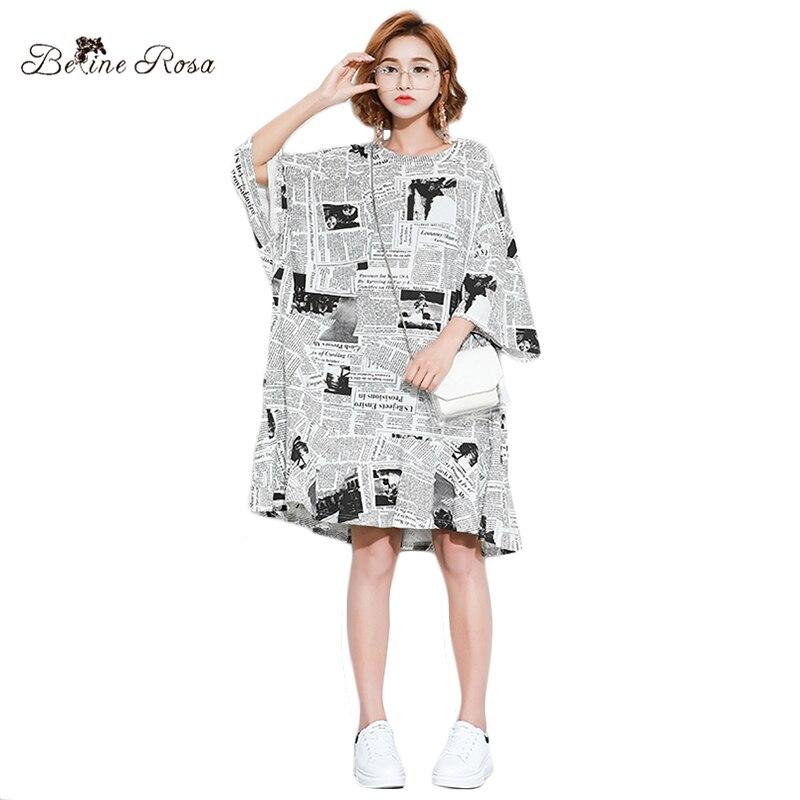 hot sale online 93293 499e9 US $16.49 50% OFF|BelineRosa Europäischen Stil Frauen Shirt Kleider Mode  Zeitung Große Größen Frauen Kleidung Tunika Kleid Weibliche HS000571-in ...