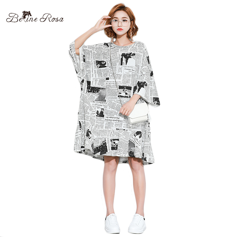 BelineRosa European Style Women Shirt Dresses Fashion Newspaper Big Sizes Women Clothing Tunic Dress Female HS000571