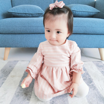 Infant Baby Girl Cotton Tutu Dress Newborn Kid Robe Long Sleeve Striped Dress Rabbit Sundress Toddler Vestido Children Clothes 2