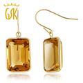 14.00 Ct Emerald Cut Natural Citrine Jewelry  Solid 14K Yellow Gold Drop Earrings For Women GemStoneKing
