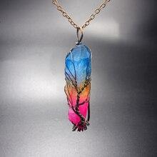 Handmade 7Chakra Natural/Rainbow Stone tree of life Pendant Necklace for Women Men long chain statement Jewelry Gift цена 2017