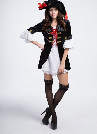 Free shipping  Cosplay party pirates of the Caribbean clothes dress&hat black women sexy uniform carnival halloween costume