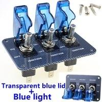 1 Uds 3X12V azul LED cubierta de seguridad avión interruptor de palanca de fibra de carbono Panel de superficie TM