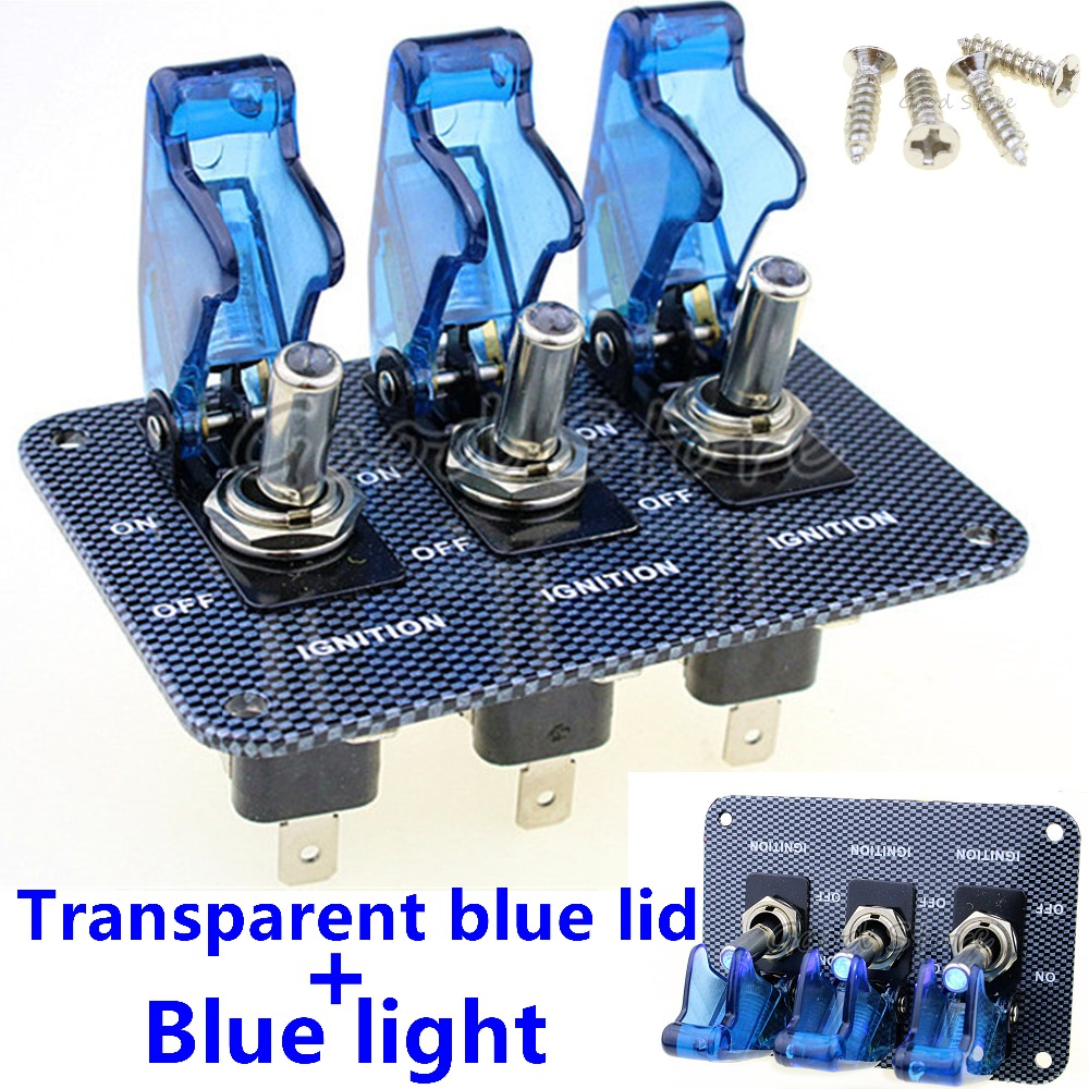 1pcs 3x12v Blue Led Safety Cover Aircraft Toggle Switch