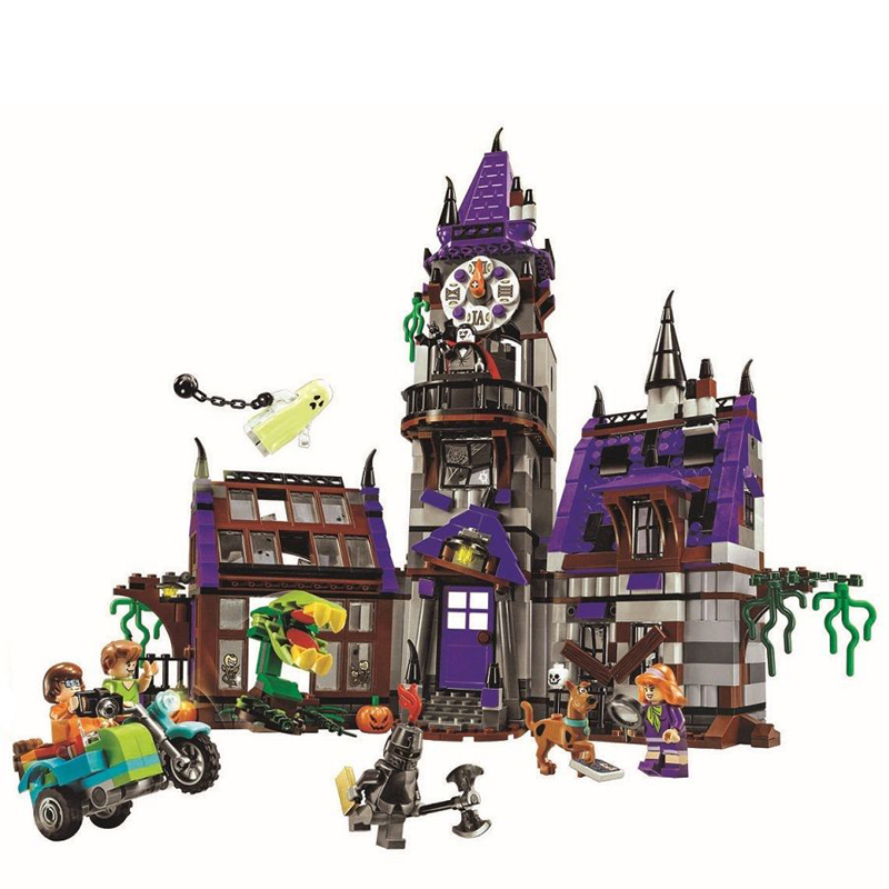 Bela 10432 Scooby Doo Figures Mysterious Ghost Mansion 860pcs Building Blocks Bricks Educational Toys For Children Gifts 75904 bela 10429 scooby doo mummy museum mysterious plane minifigures building block minifigure toys best legoelieds toys