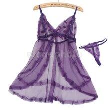 Сексуальное кружевное белье, ночная рубашка, ночная рубашка с стрингами для женщин, фиолетовый
