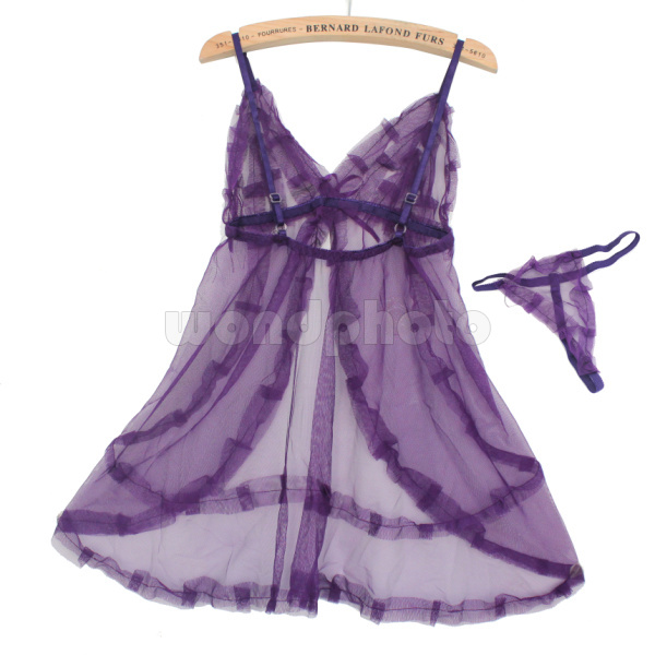 Sexy Lace Lingerie Sleepwear Nightdress Babydoll With G-string For Women Purple