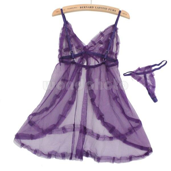 Sexy Lace Lingerie Sleepwear Nightdress Babydoll With G-string For Women Purple