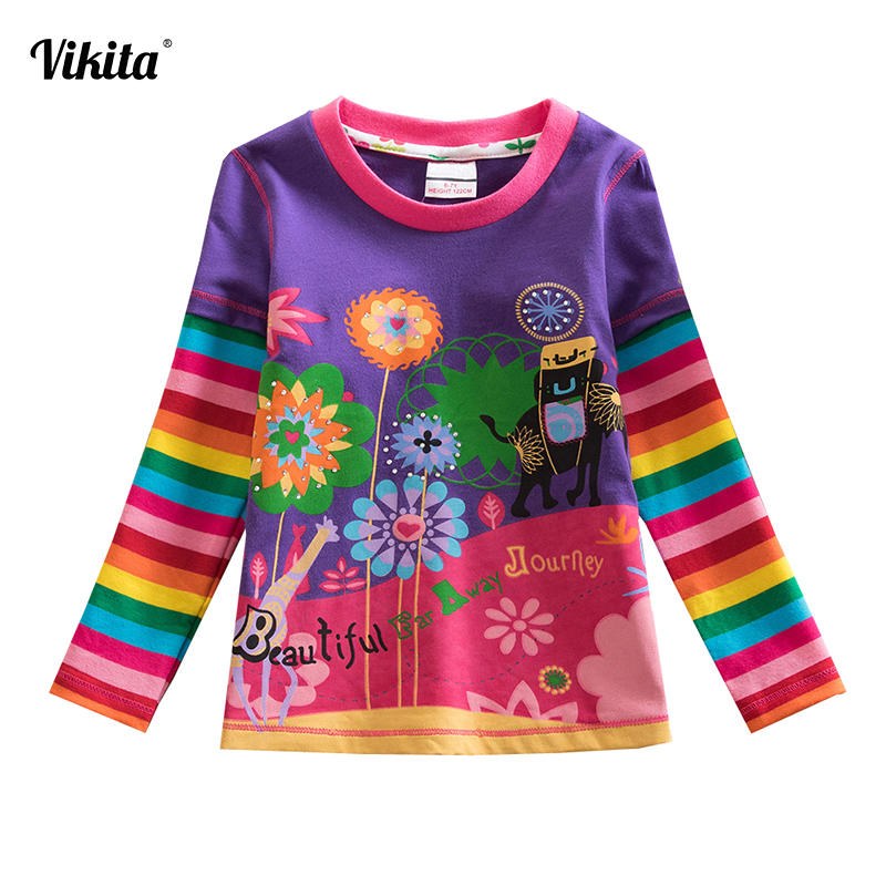 VIKITA T Shirts Children Kids Child T-Shirt Long Sleeve T Shirt For Girls Tops Baby Tshirt Tee Shirt Fille Girls Clothes L328 voile panel stripe long sleeve t shirt