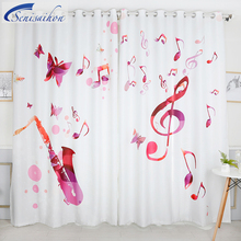 Senisaihon Modern 3D Blackout Curtains Cartoon Colored Music Symbol Pattern Thickened Fabric Bedroom Curtains for Living Room