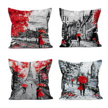True love forever Cushion Cover Throw Pillow Covers Black & Red Paris Eiffel Tower Modern Couple Style Decorative Cases