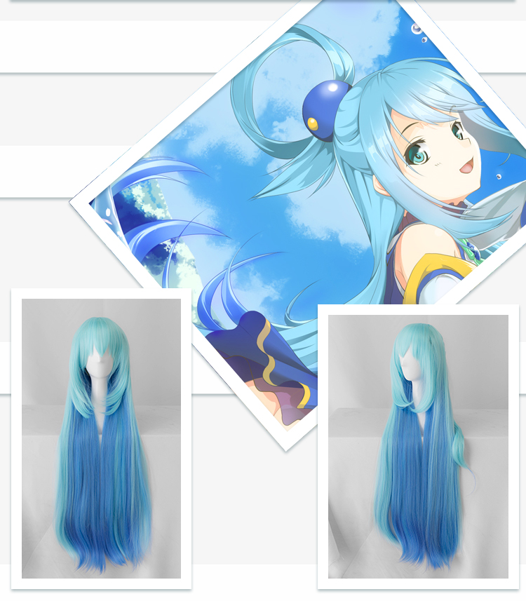 Image 5 - Biamoxer KonoSuba God&#39s Blessing on This Wonderful World ! Cosplay Wigs KonoSuba Aqua Blue Long Straight Synthetic Hair Adult-in Game Costumes from Novelty & Special Use