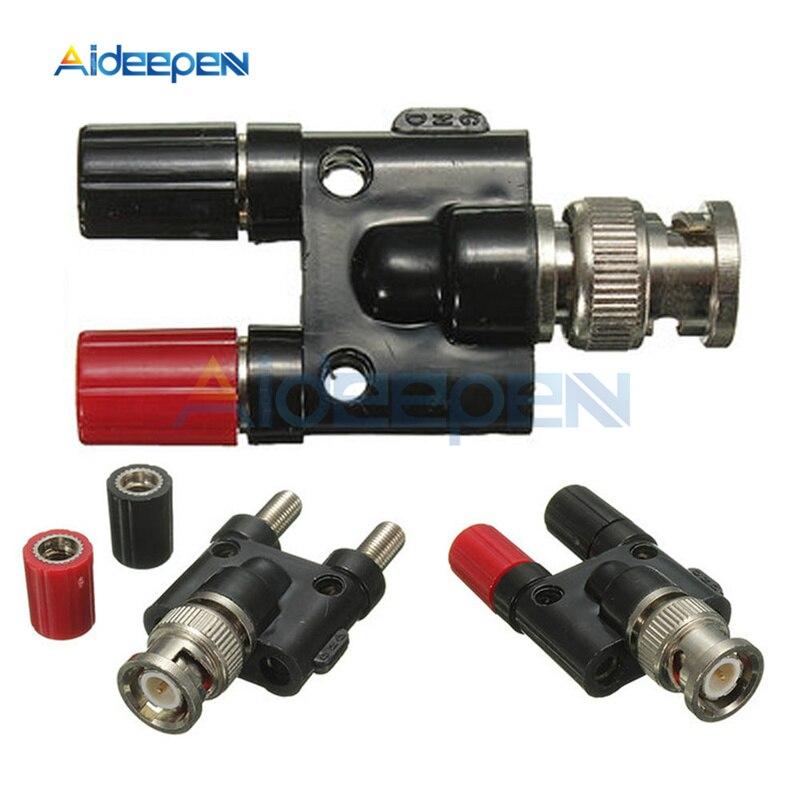 BNC Male Plug to 4mm Twin Dual Banana Jack Female Socket Binding Post RF Coax Coaxial Adapter Connector Black & Red