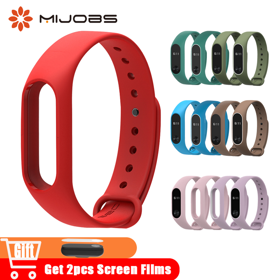 Mijobs Mi Band 2 Wrist Strap Silicone For Xiaomi Mi Band 2 Wristband Bracelet Accessories Smart Watch Original M2 Miband 2 Strap