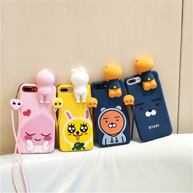 Galleria fotografica Korea 3D supre cute Apeach Ryan soft silicone phone case for iphone 6 6s 7 8 plus 6plus 10 X cover for iphone 7 coque