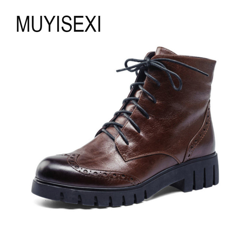 Womens Boots Ankle Boots Wool Flat Platform Ankle Boot Genuine Leather Round Toe Women Winter Shoes