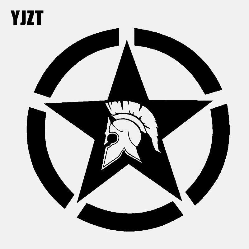 YJZT 13.3CM*13.3CM Stars Vinyl Decal Molon Labe Car Sticker Black/Silver C3-0723