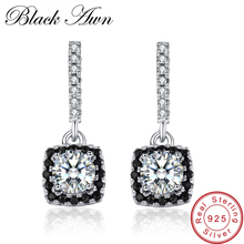 ФОТО BLACK AWN 925 Sterling Silver Fine Jewelry  GemStone Topaz Engagement Earrings for Women Female Wedding Earrings T051