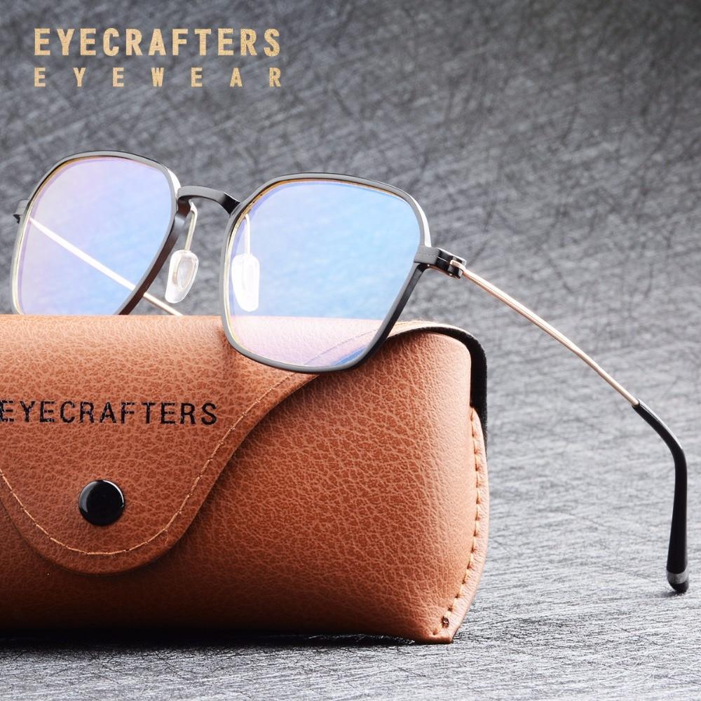Aluminium Vintage Retro Full Eyeglass Frames Men Women Anti-Blue Ray Optical Glasses Frame Clear Lens Computer Glasses