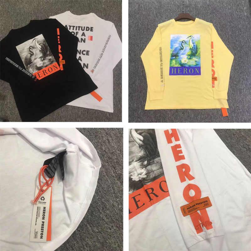 7bab37477b5 Осень Новый Стиль Одежда с длинным рукавом Heron Престон футболки хип-хоп  скейтборд синий из