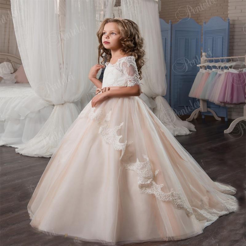 Tulle Mother Daughter Dress Mermaid Kids Wedding Party Gowns Lace Lovey Elegant Princess Dress First Communion Dresses for Girls вечернее платье mermaid dress vestido noiva 2015 w006 elie saab evening dress