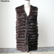 Harppihop 2018 natural rabbit fur knitted vests new six color good quality lady Rex fur jackets