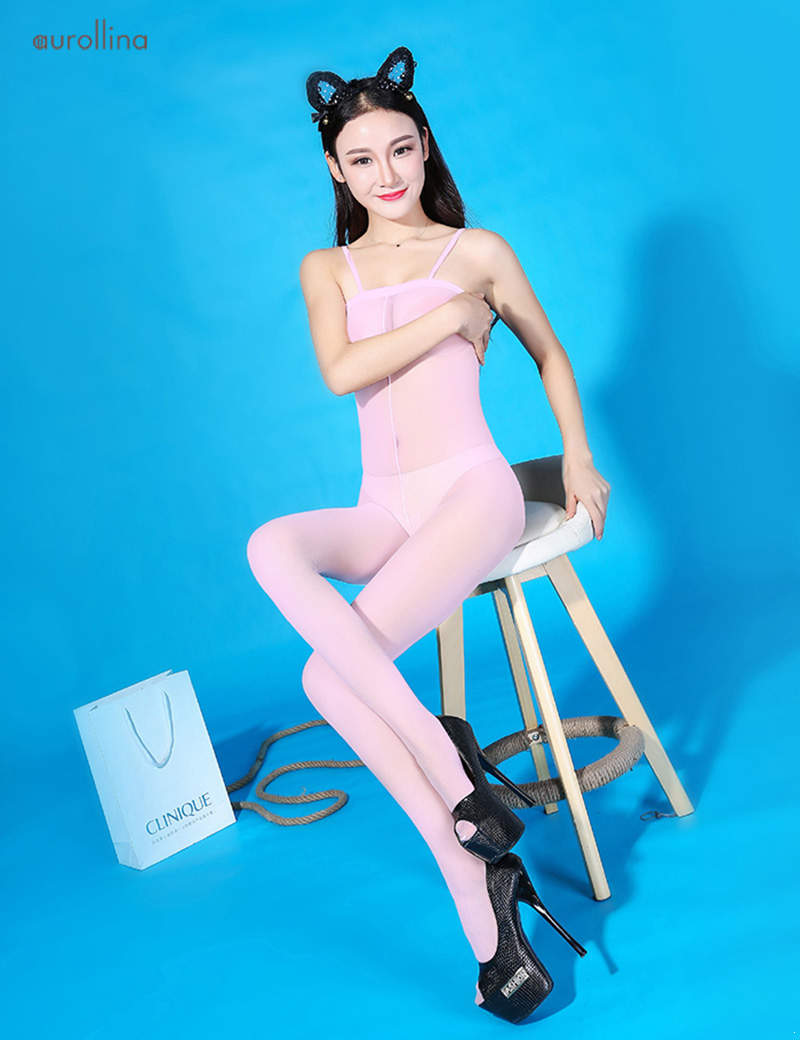 Sleeveless-Open-Crotch-Sheer-Pink-Bodystocking-Pantyhose-Lingerie-(2)