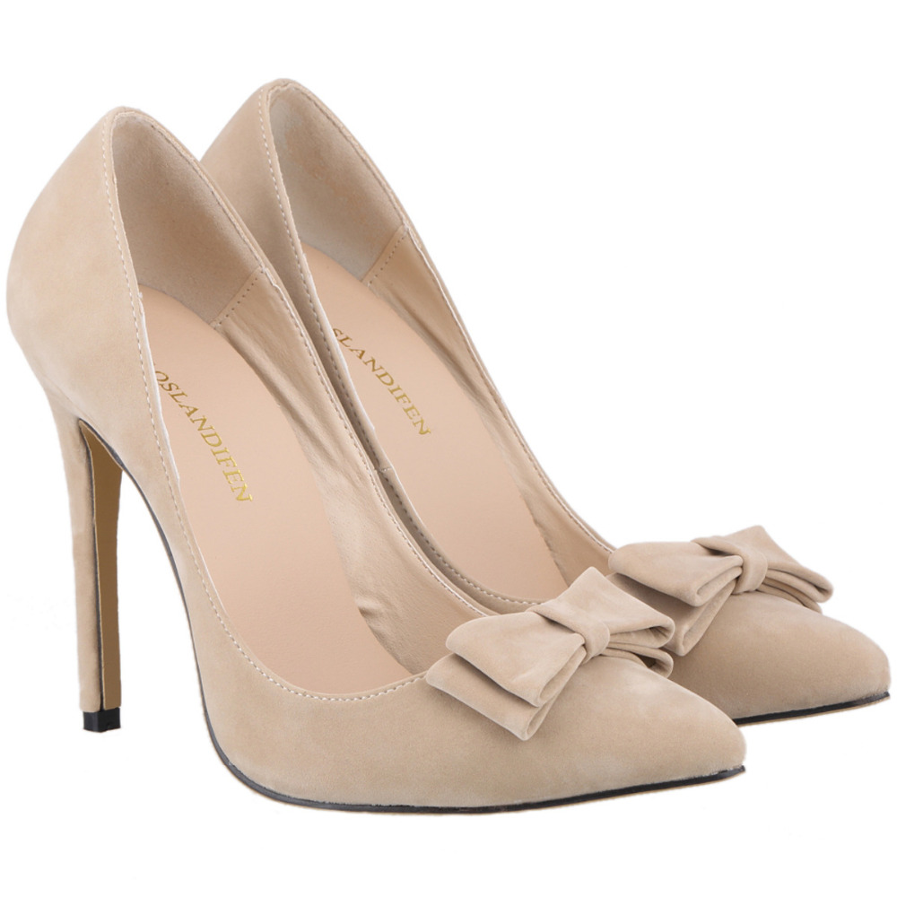 d71f8e96 Nueva moda sexy BowTie mujeres zapatos de tacón alto Mujer punta bombas boda  del Partido de la muchacha señoras flock zapato