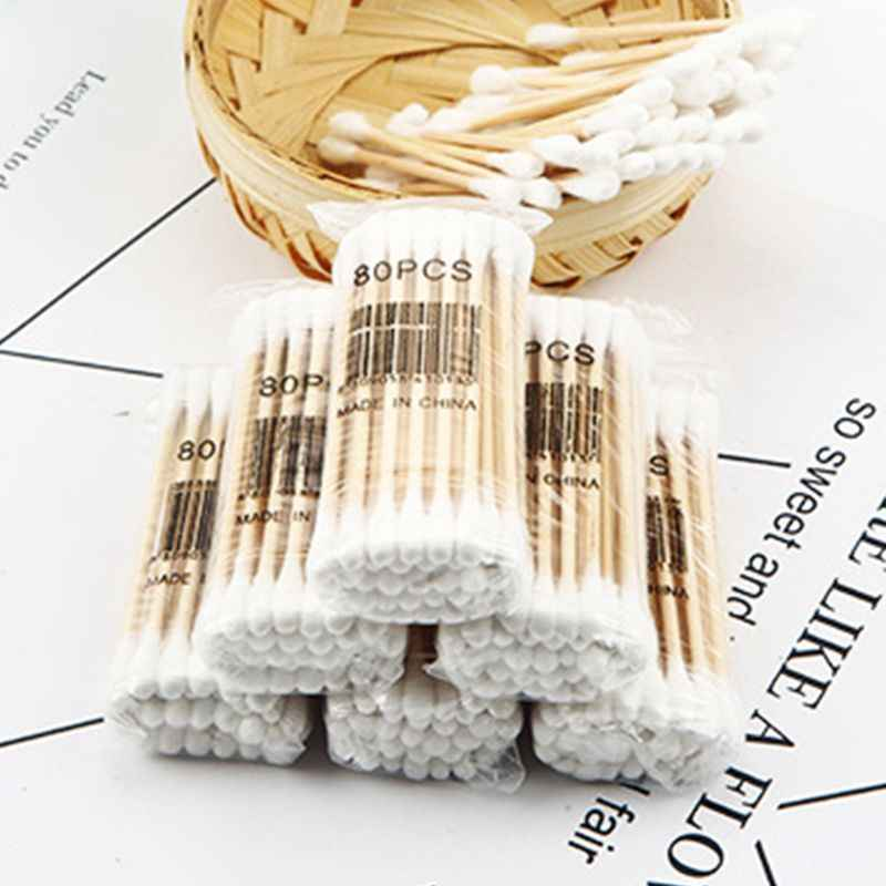 80Pcs/Pack Safety Toddler Baby Double Head Cotton Swab Disposable Nose Ears Cleaning Makeup Buds Tip Portable Health Care Tools