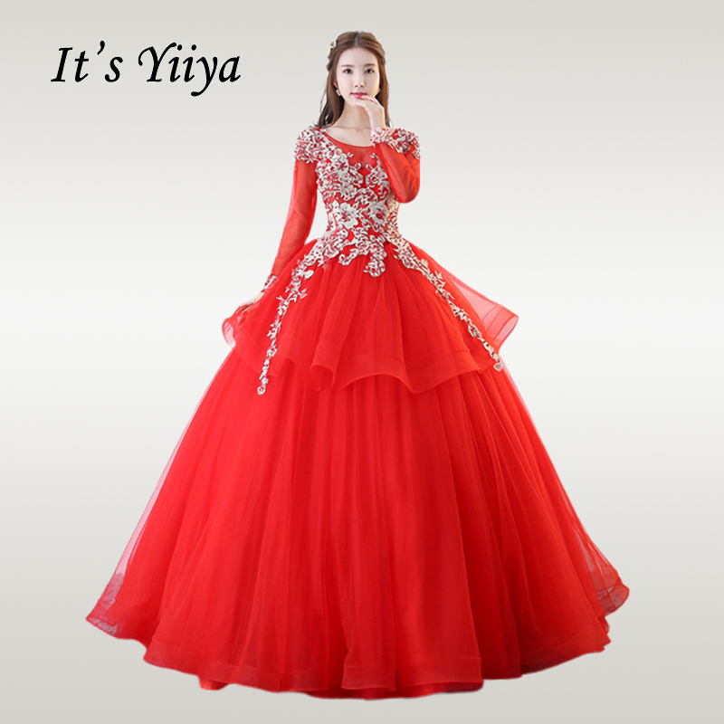 It's YiiYa Wedding Dress 2019 Long Sleeve Embroidery O-neck Wedding Dresses Elegant Red Plus Size Lace Up Vestido De Novia CH223