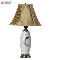 TUDA 45X72cm Free Shipping Morden Chinese Style Ceramic Table Lamp High Grade Gloden Cloth Lampshade Decoration