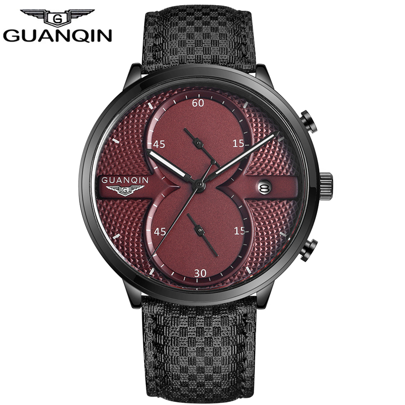 GUANQIN Mens Business Watches Top Brand Luxury Waterproof Chronograph Watch Man Leather Sport Quartz Wrist Watch Men Clock Male wlring free shipping new throttle body for evo 4g63 70mm cnc intake manifold throttle body evo7 evo8 evo9 4g63 turbo wlr6948 page 3