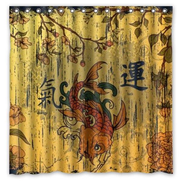 Vintage Phantasie Karpfen Koi Gedruckt Wasserdicht Polyester Duschvorhang Bad Vorhang Grosse 180X180