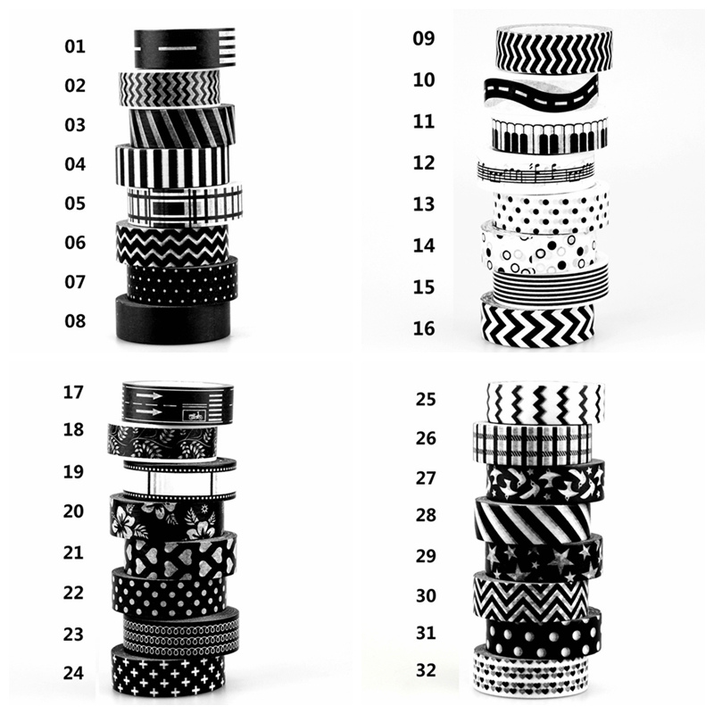 1X 15mm Tape Black White Set Dot,Flower,Star Print Scrapbooking DIY Sticker Decorative Masking Japanese Washi Tape Paper Lot 10m