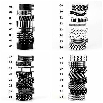 1x tape black white set dot star cross chevrons print scrapbooking adhesive decorative masking tape japanese.jpg 350x350