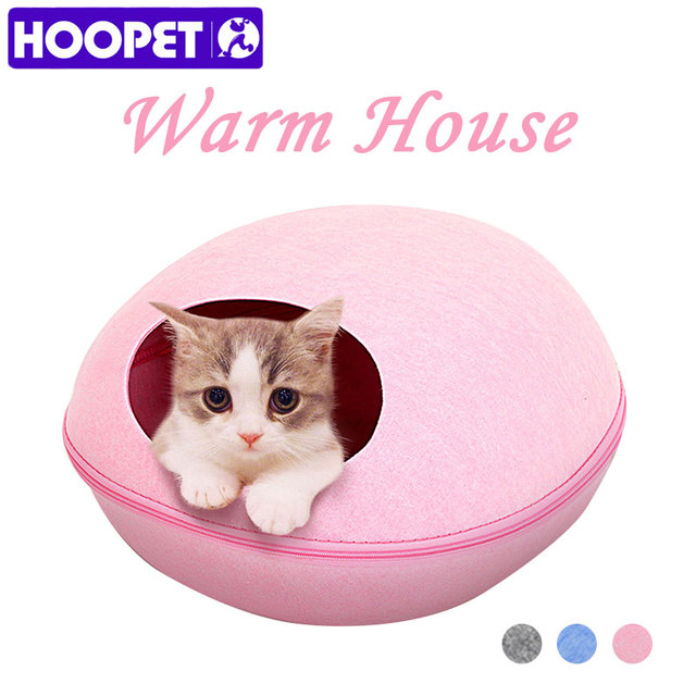 HOOPET Dog Cat Bed Sleeping Bag Zipper Egg Shape Felt Cloth Warm Pet House All Around Nest