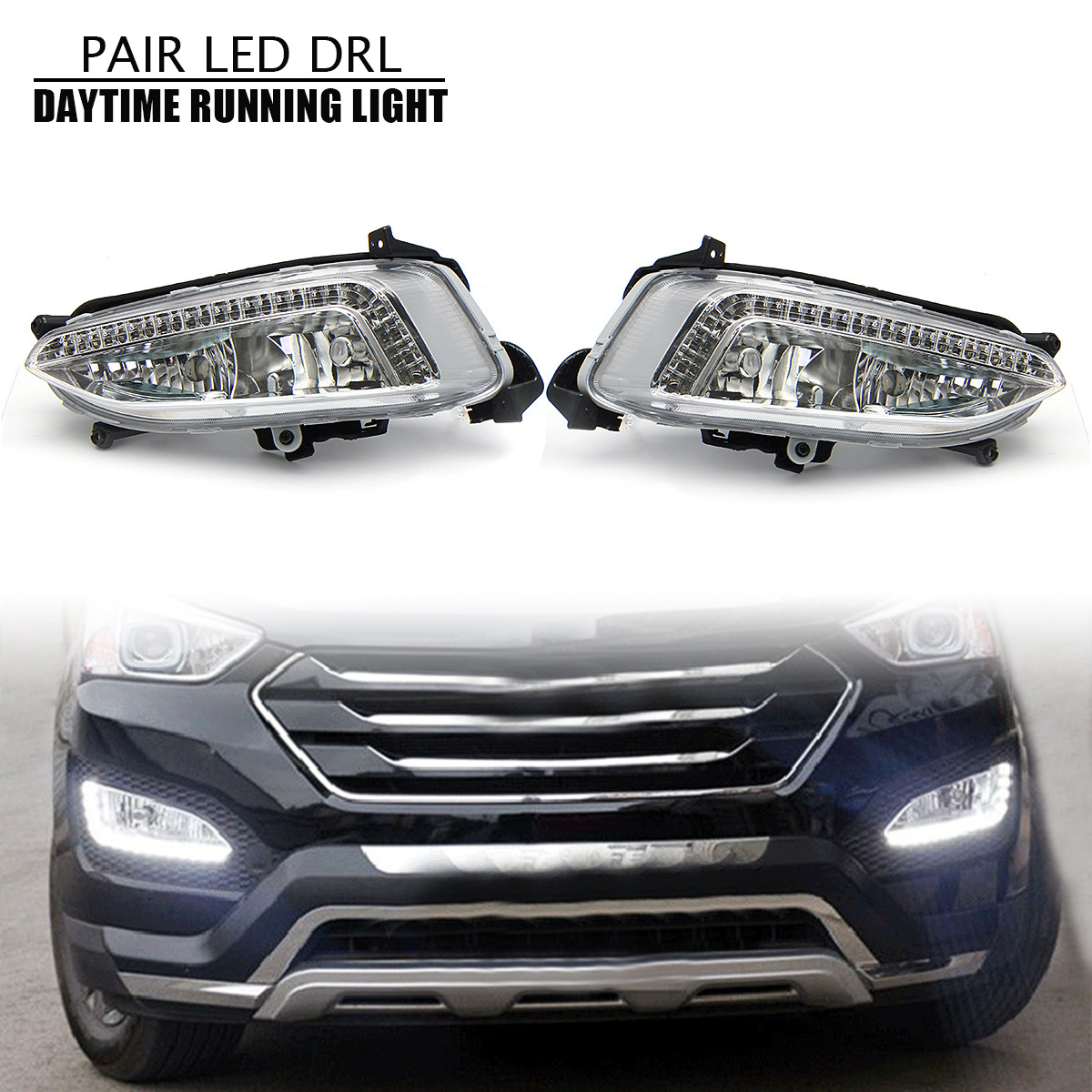 1 Pair 12V Automotive LED Lamp Car Fog Light Assembly White Daytime Running Light Waterproof for hyundai IX45 Santa Fe 1wx5 70 90lm 6000 6700k white 5 led car daytime running light black dc 12v pair