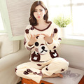 Winter plus velvet women's sleepwear coral fleece sleepwear Women cartoon thickening flannel lounge set