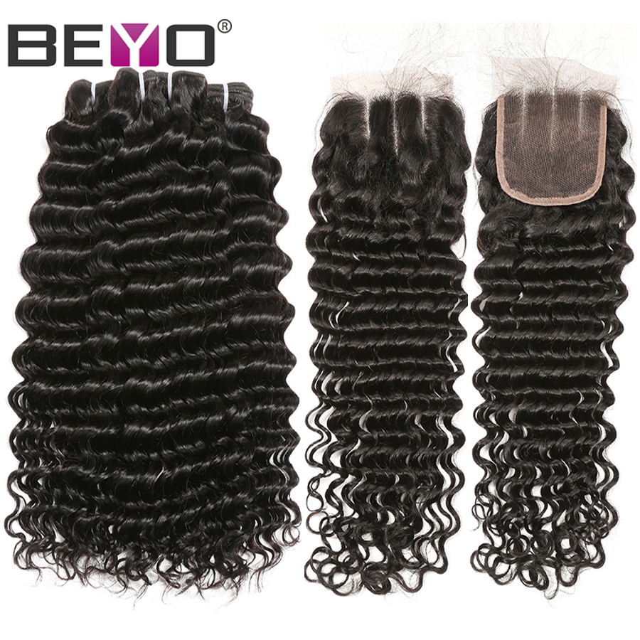Deep Wave Bundles With Closure Human Hair Peruvian Hair Bundles With Closure Nony Remy 3 Bundles
