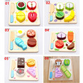 New Children Wood Kitchen Toys Colorful Pretend Toys Educational Cut Toys for Kids Baby Cut Fruit Vegetable High Qulity