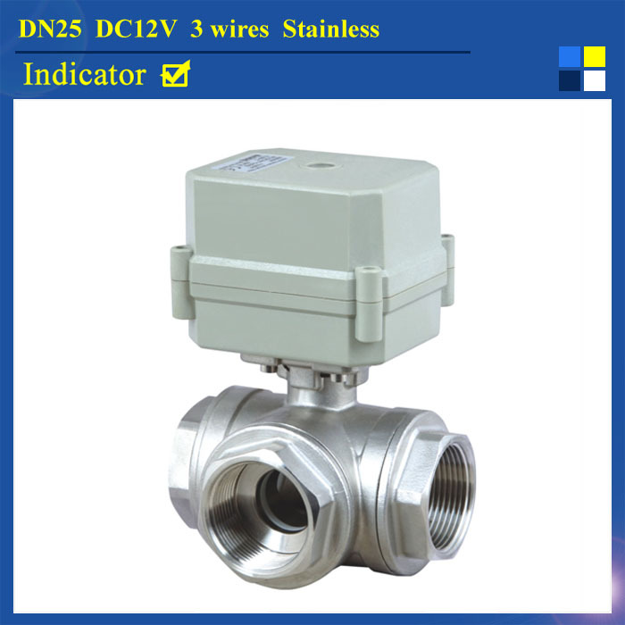 T Port DN25 3-Way Motorized Bll Valve DC12V 3 Wires BSP/NPT 1'' SS304 Motor Operated Valve With Indicator hot tf25 s2 b dn25 full port ss304 electric water valve with manual 2 way bsp npt 1 dc12v dc24v 2 3 5 7 wires metal gear