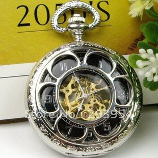Free shipping wholesale antique 1pcs/lot silver rose hand wind mechanical chain pocket watch for mens woman necklace Black watch