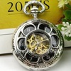 Free Shipping Hot On Sale Wholesale Antique New 2012 Silver Rose Mechanical Chain Pocket Watch For
